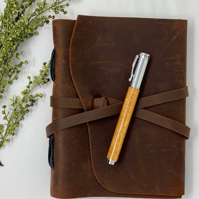 Leather Journal & Handcrafted Canary Pen Bundle