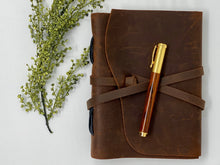 Load image into Gallery viewer, Leather Journal & Handcrafted Cocobolo Pen Bundle