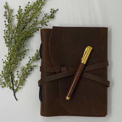 Leather Journal & Handcrafted Rosewood Pen Bundle