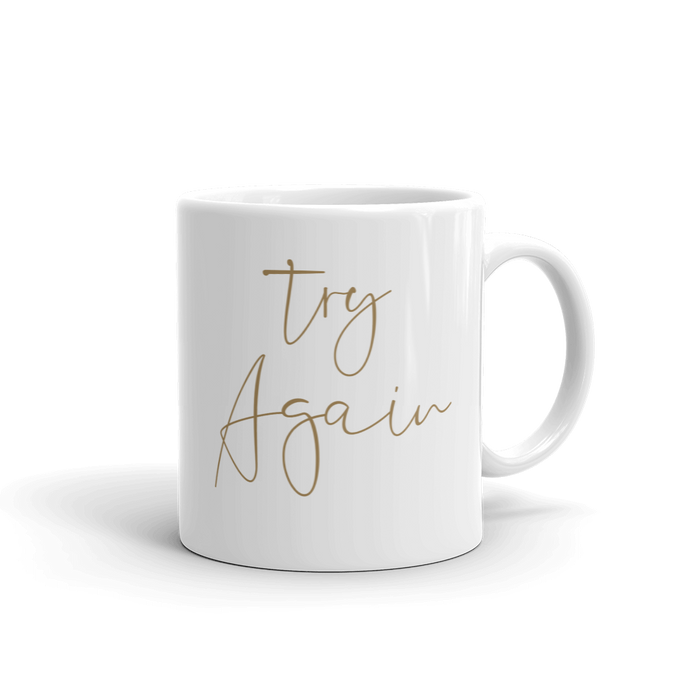 Try Again 11oz White Ceramic Glass Coffee Mug