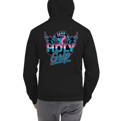 Pole Fitness T-Shirt Hoody Jumper Black Holy Grip Miami Vice Style 80s Logo Pink and Blue