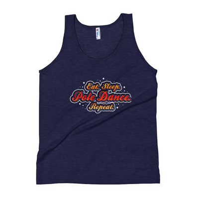 Indigo Tri-Blend Moisture Wicking Athletic Tank Top Unisex Male Pole Dancer Eat Sleep Pole Dance Repeat