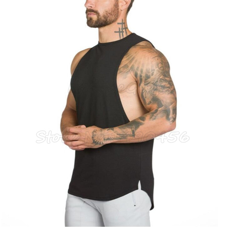 Men Tank Top Bodybuilding Fitness Singlet Sleeveless Shirt Cotton