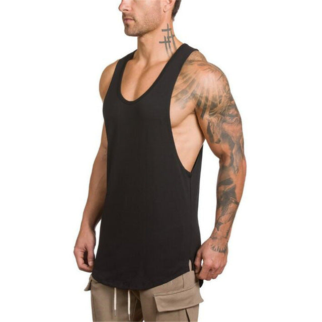3cbf1a749496ca Cotton Male Tank Tops gyms Clothing Bodybuilding sleeveless t shirts ...