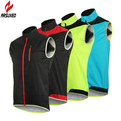 ARSUXEO Men Women Cycling Running Vest Windproof Waterproof Quick Dry Breathable Anti-Shrink