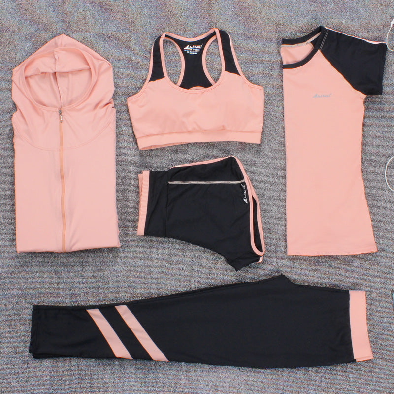 New Women 5 Piece Set Plus Size M-3XL Yoga Suits