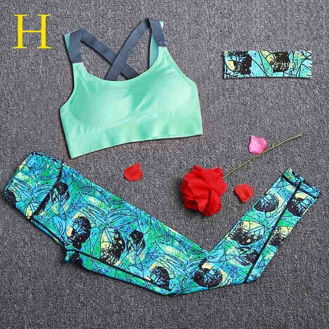 Women Sports Sets 3pcs Headband+Bra+Printed Yoga Leggings