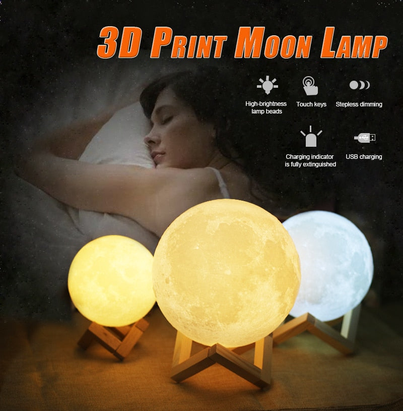 Moon lamp LED light 20CM 18CM 15CM USB 2 Colors Changeable Touch Switch Night Light