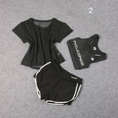 3 PCS Set Female Workout Sports Clothes Athletic Running Yoga Suit