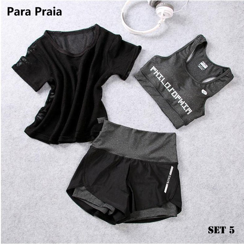 High Waist Three Piece breathable quick dry Yoga Set Sportswear for Women
