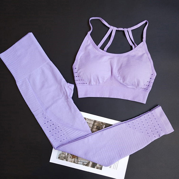 Energy Seamless High Waist Leggings+Strappy Bra 2Pcs Yoga Set Women
