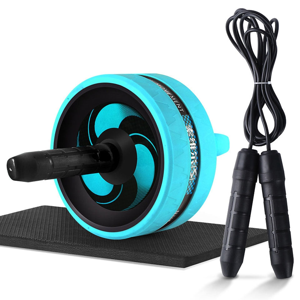 Roller&Jump Rope No Noise Abdominal Wheel with Mat  For Exercise Fitness