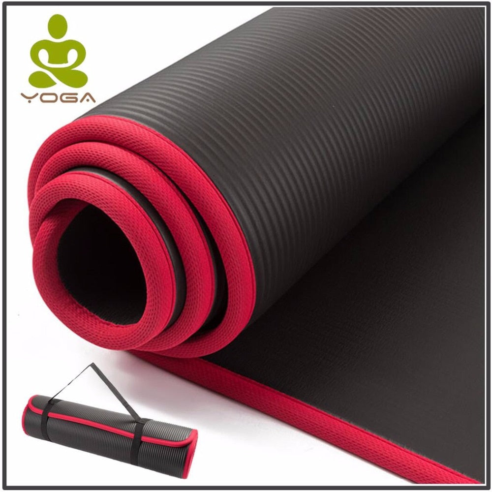 10MM Extra Thick 183cmX61cm Non-slip Yoga Mats For Fitness Pilates Gym Exercise with Bandages
