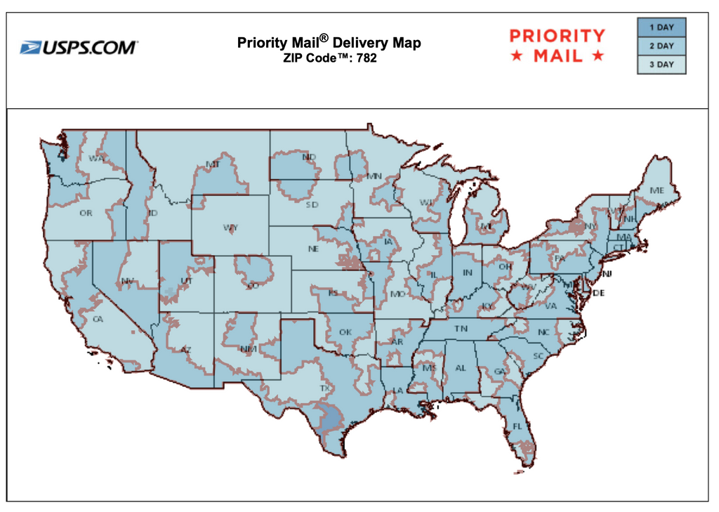 USPS Priority Mail Delivery Map