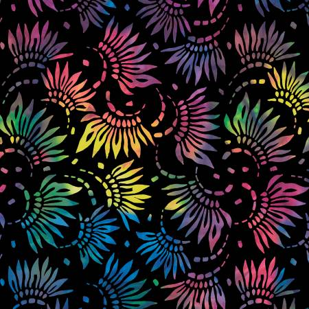 Black/Multi Petals 108in Wide Back