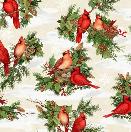Christmas -Cream Cardinal Noel Large Allover
