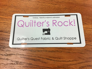 Quilter's Metal Licence Plate