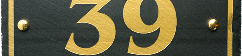 House Sign - black slate with gold paint.