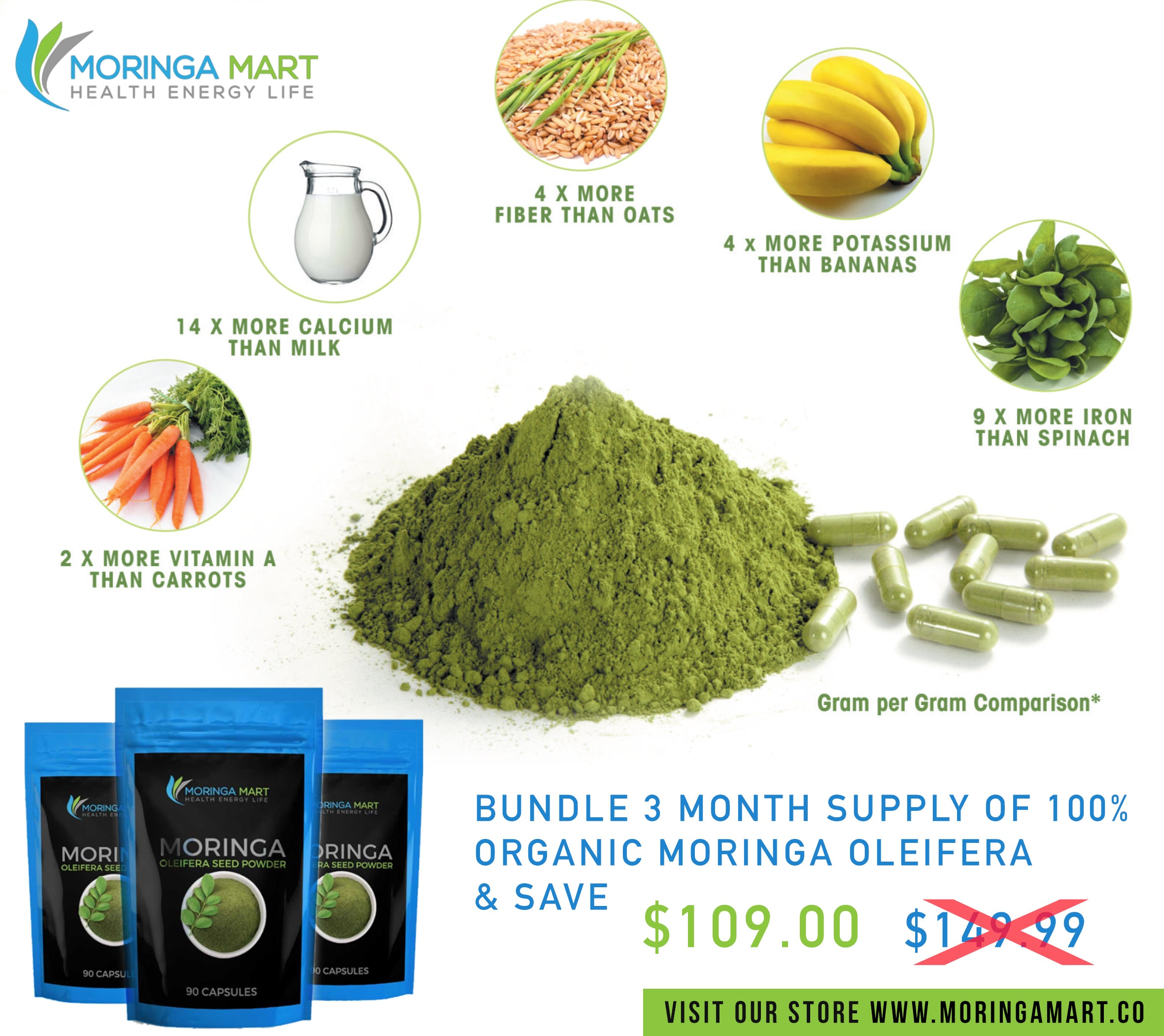 30 Day Supply of 100% Pure Organic Moringa Oleifera