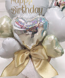 HAPPYBIRTHDAY  Heart  Flower Bouquet (WhitexGold)【税込】