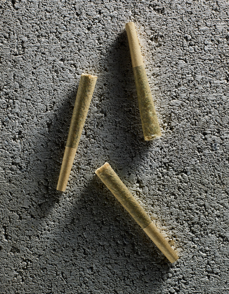 pre-rolls on grey concrete background