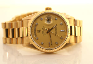 ROLEX DAY-DATE 18K YELLOW GOLD PRESIDENT MENS WATCH 36MM 18038 vERY nICE!!!