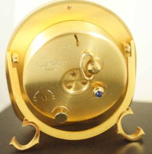 CARTIER DESK TRAVEL ALARM CLOCK WITH LAPIS LOOKING HIGHLIGHTS IN GOLD