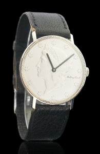 Mathey Tissot Sterling Silver Coin Style Men's Manual Winding Watch