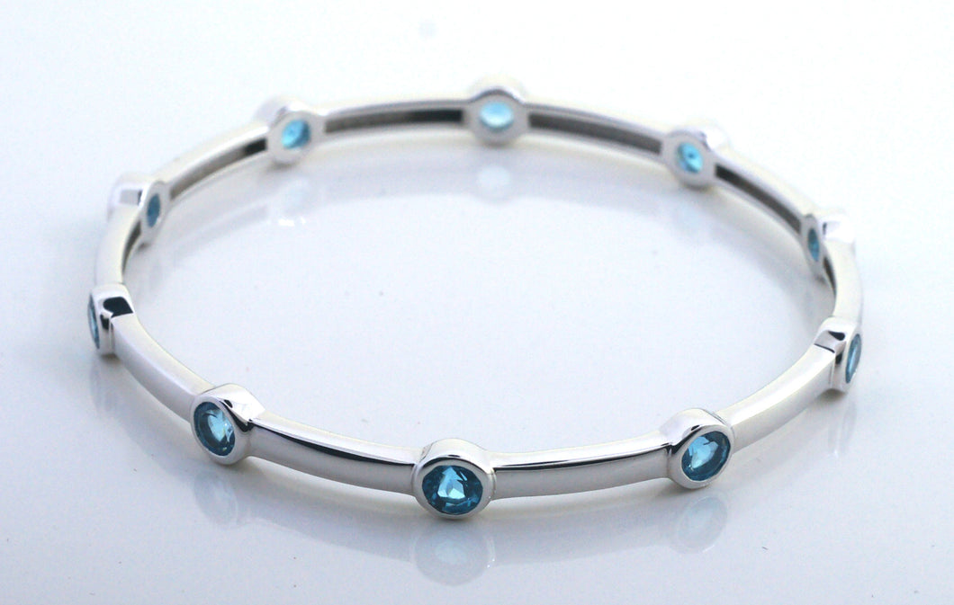 Sterling Silver Blue Topaz Bangle Bracelet