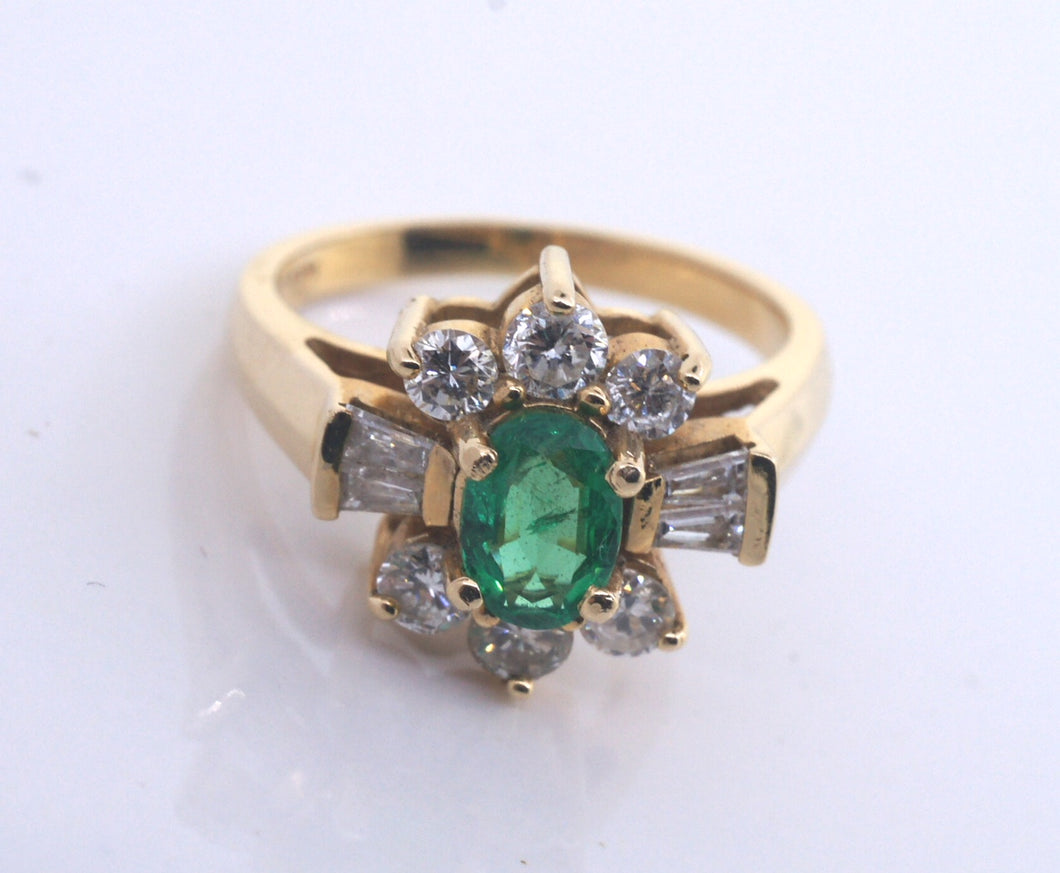 Ladies 14k Yellow Gold Emerald and Diamond Ring