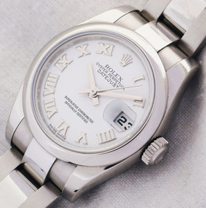 Rolex Datejust Stainless Steel Ladies Automatic Watch White Roman Dial 179160