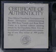 1 oz Silver Round - ROSE BOWL 1983 in Original certificates and water seal sleeve