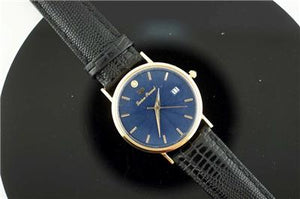 Lucien Piccard 14K Sold Yellow Gold with Day NOS Sunburst Dial with Diamond