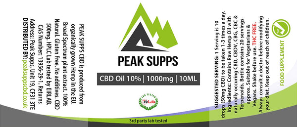 Peak Supps CBD 1000mg (10%) with raw hemp oil - 10ml Bottle with dropper