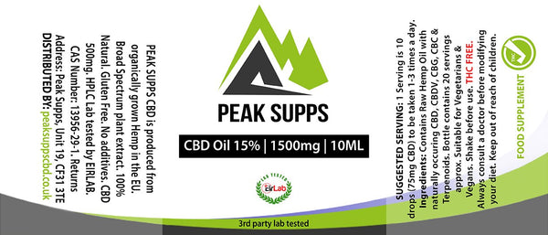 Peak Supps CBD 1500mg (15%) with raw hemp oil - 10ml Bottle with dropper