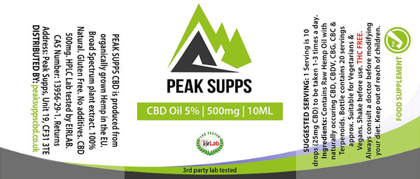 Peak Supps CBD 500mg (5%) with raw hemp oil - 10ml Bottle with dropper