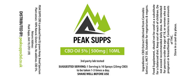 Peak Supps CBD 500mg (5%) with MCT oil - 10ml Bottle with spray nozzle (THC Free)