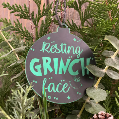 Resting Grinch Face Ornament