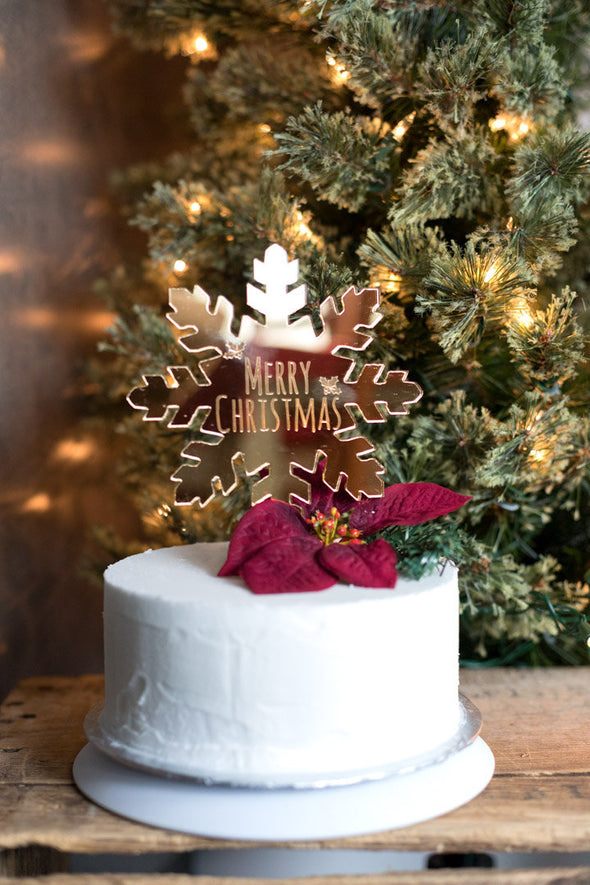Gold Snowflake Cake Topper