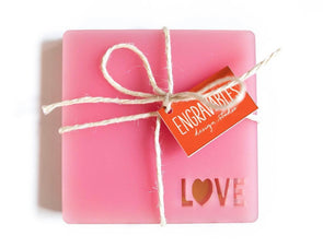 Love - Frosted Pink Coaster Set
