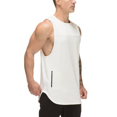 EXODUS WHITE SLEEVELESS TANK