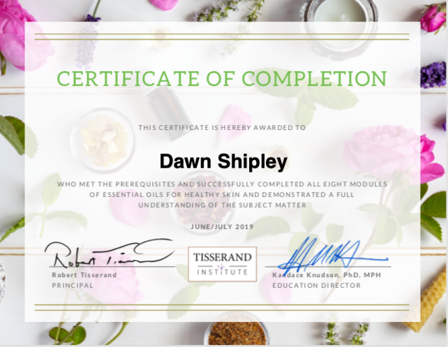 Completion of Tisserand Institute EOs for Healthy Skin
