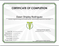 Certificate of Completion - Chakra Healing Using EOs - Dr Timothy Miller