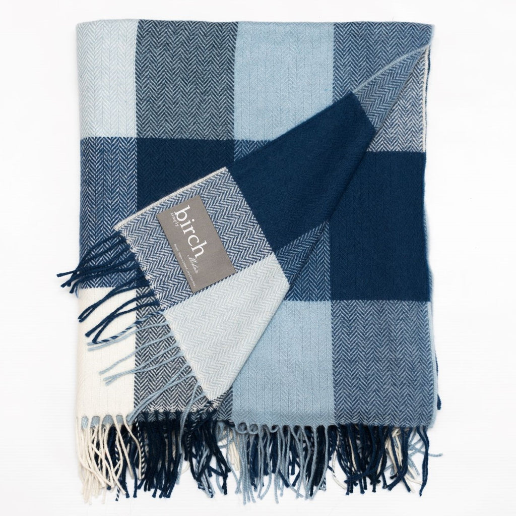 Blue Block Check Throw Blanket
