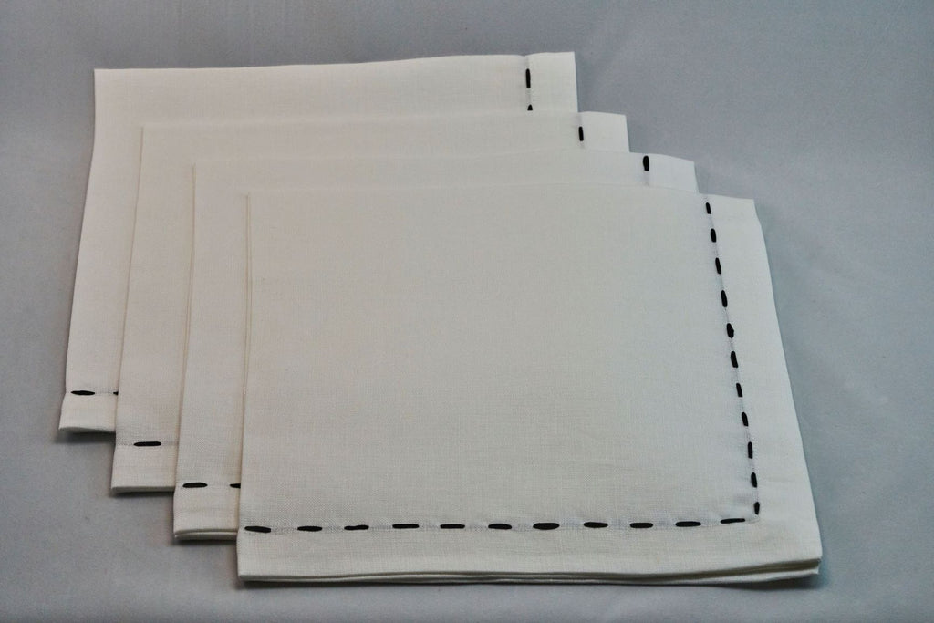 Saddlestitch Napkin Set in White & Black