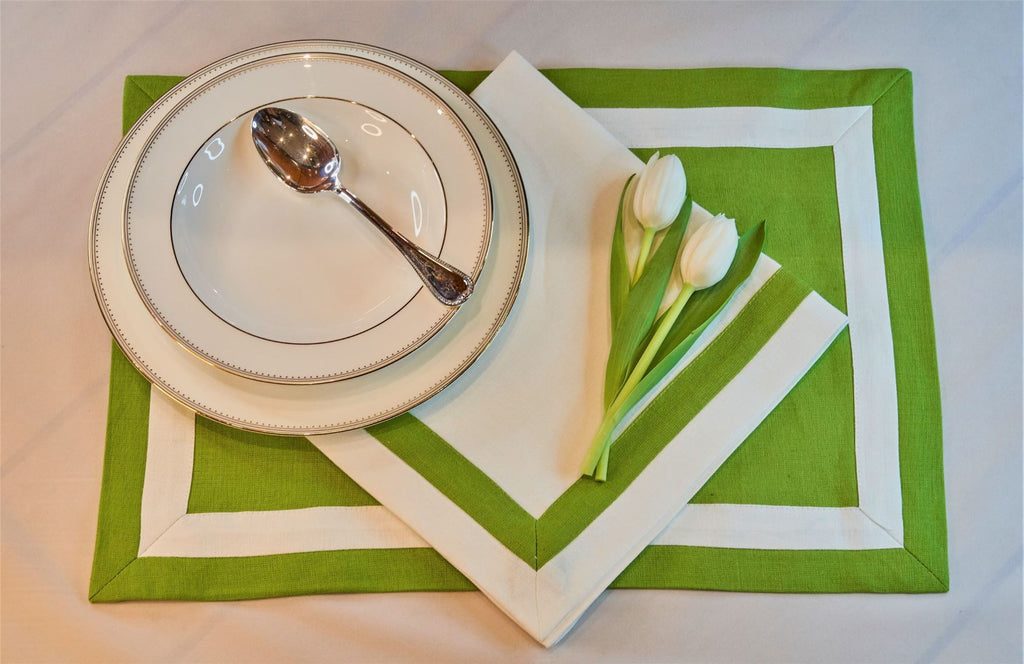 Inset Band Placemat Set in Green Apple