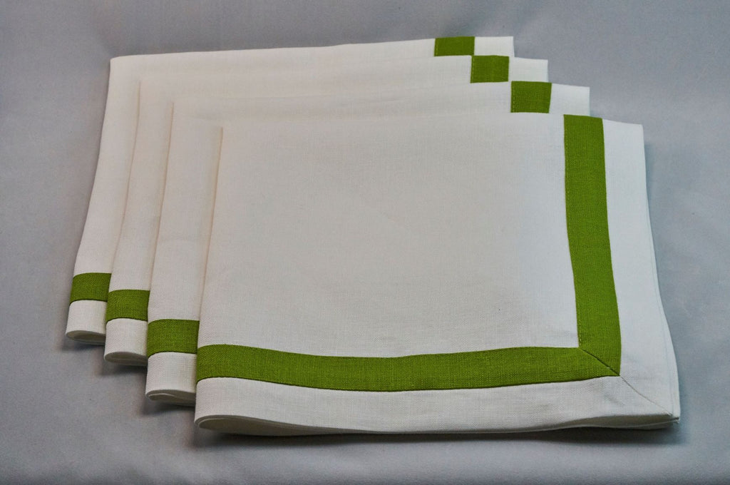 Inset Band Napkin Set in Green Apple