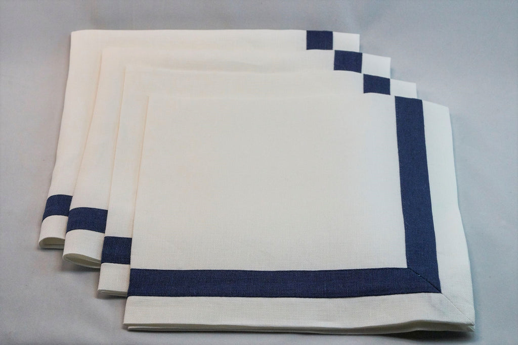 Inset Band Napkin Set in Sapphire