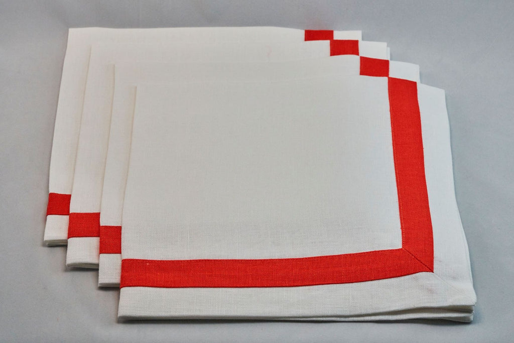 Inset Band Napkin Set in Apple Red