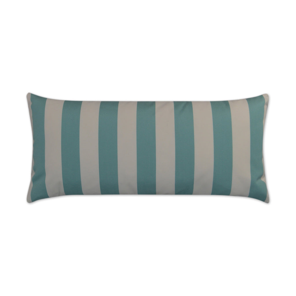 Café Stripe Lumbar Pillow in Aqua